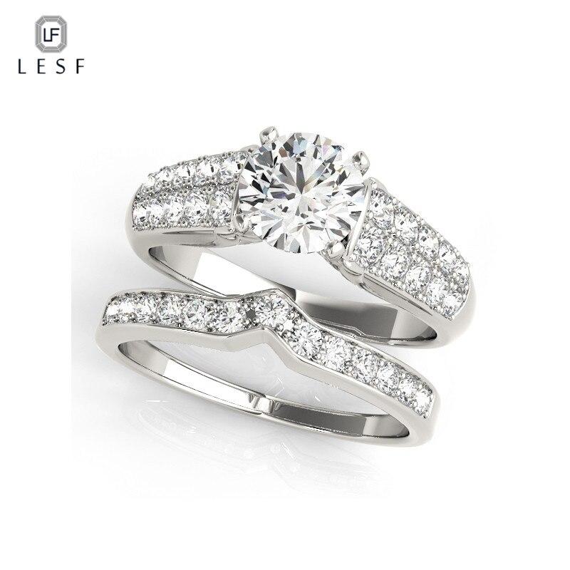 LESF luxe 1ct rond zircon cubique bague de mariage ensemble réel 925 bague de fiançailles en argent Sterling pour les femmes promesse anneau