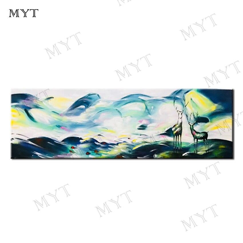 Pintura abstracta de paisaje pintada a mano, lienzo nórdico pintura abstracta para decoración de sala de estar