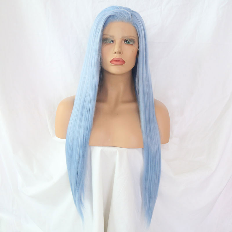 Bombshell Light Sky Blue Straight Hand Tied Synthetic Lace Front Wig Glueless Heat Resistant Fiber Hair Side Part For Women Wigs