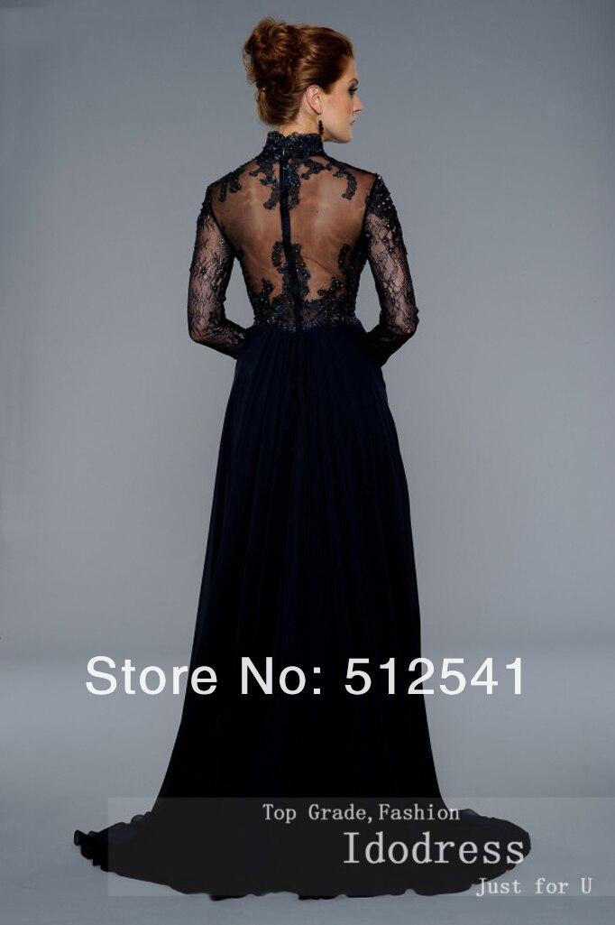 Long Sleeve mother of bridal dresses rhintestone sheer black women gown lace idodress 75 (3).jpg