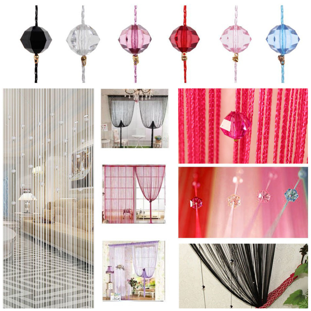 Door bead curtains for kids - 1x2m Beautiful String Curtain Tassel Curtain Crystal Beads Silk Door Divider Sheer Curtains Valance Door Windows