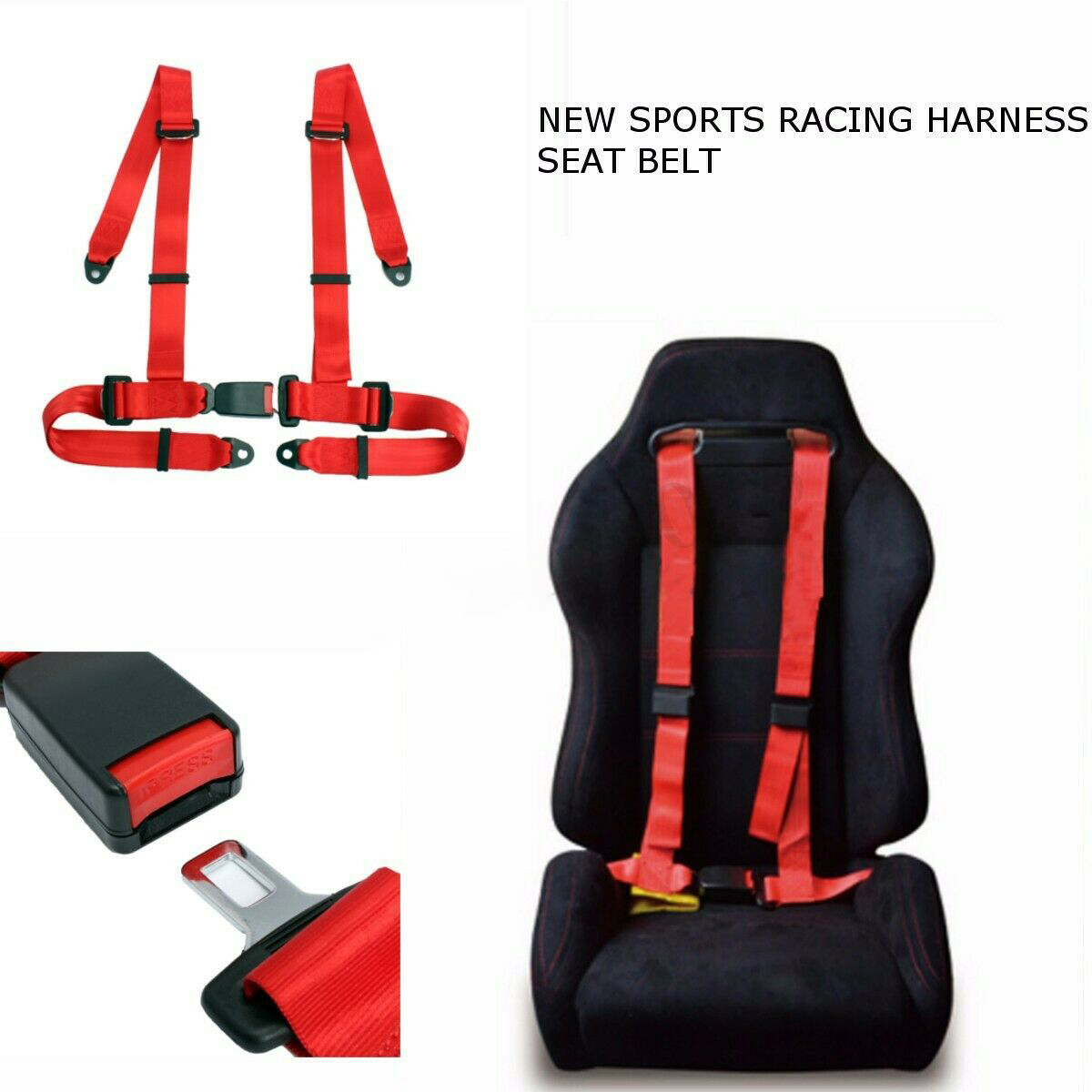 Height 110cm Racing Seat Belt 4-Point Harness Seatbelt Racing Sport Racing Seatbelt 4-Point Racing Seatbelt Durable Interior