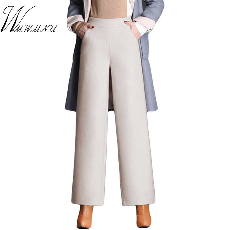 High Waist Cauual Wide Leg Pants Women 2019 Top Quality Woolen Autumn Winter Trousers Ladies Vintage Loose Sweatpants M-4XL