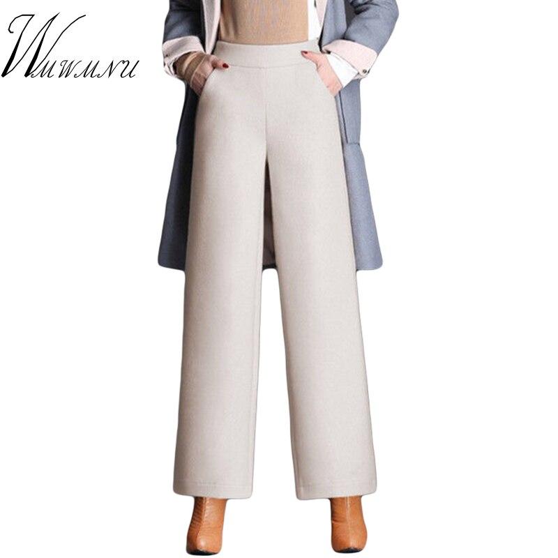 High Waist Cauual Wide Leg Pants Women 2019 Top Quality Woolen Autumn Winter Trousers Ladies Vintage Loose Sweatpants M-4XL