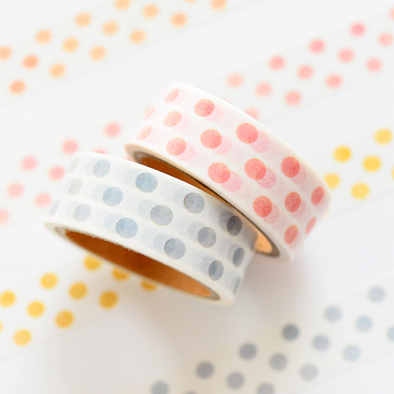 4 pcs Grid Dot color stripe masking tape 15mm decorative adhesive washi tapes for diary album letter DIY tools Stationery F041 in Office Adhesive Tape from Office School Supplies