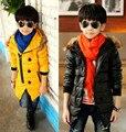 Frete grátis menino lazer parágrafo espessamento inclinado zíper de algodão-acolchoado casacos brasão boy roupas crianças