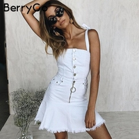 BerryGo Strap button denim dress women Ruffle tie up white dress jeans 2018 Streetwear zipper elastic short summer dress female