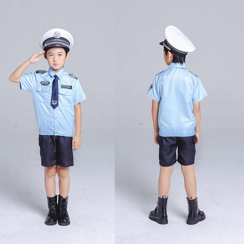 5fbd51f9bf63a Holiday Wear School Student Uniform Girls Skirt Team Boys Policemen Cosplay  Costumes Children's Day Traffic Policewomen Clothes