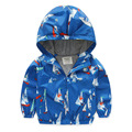 Fashion Sailing Boat Print Boys Hooded Coat & Outerwear Spring Boys Windbreaker Baby Jackets Kids Clothes Children Clothing