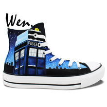 Wen Blue Hand Painted Shoes Design Custom Doctor Who Gallifrey Symbol High Top Men Women's Canvas Sneakers Christmas Gifts