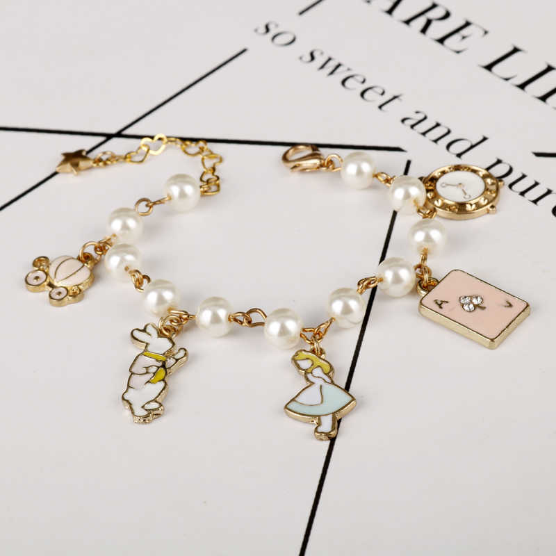 MQCHUN fashion women jewelry accessories cute alice in wonderland rabbit clock imitation pearl link chain bracelet charm bangle