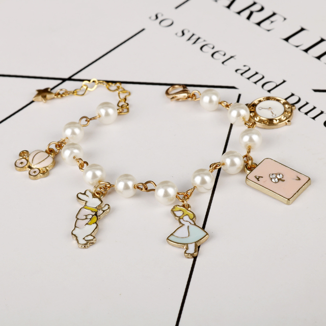 MQCHUN ファッション女性ジュエリーアクセサリーかわいいワンダーランドうさぎ時計模造真珠チェーンブレスレットチャームバングル
