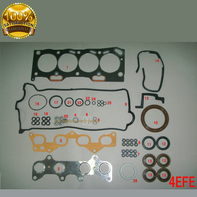 4E 4EFE Engine Full gasket set kit for TOYOTA COROLLA E11 LIFTBACK COMPACT WAGON 1332CC 16V