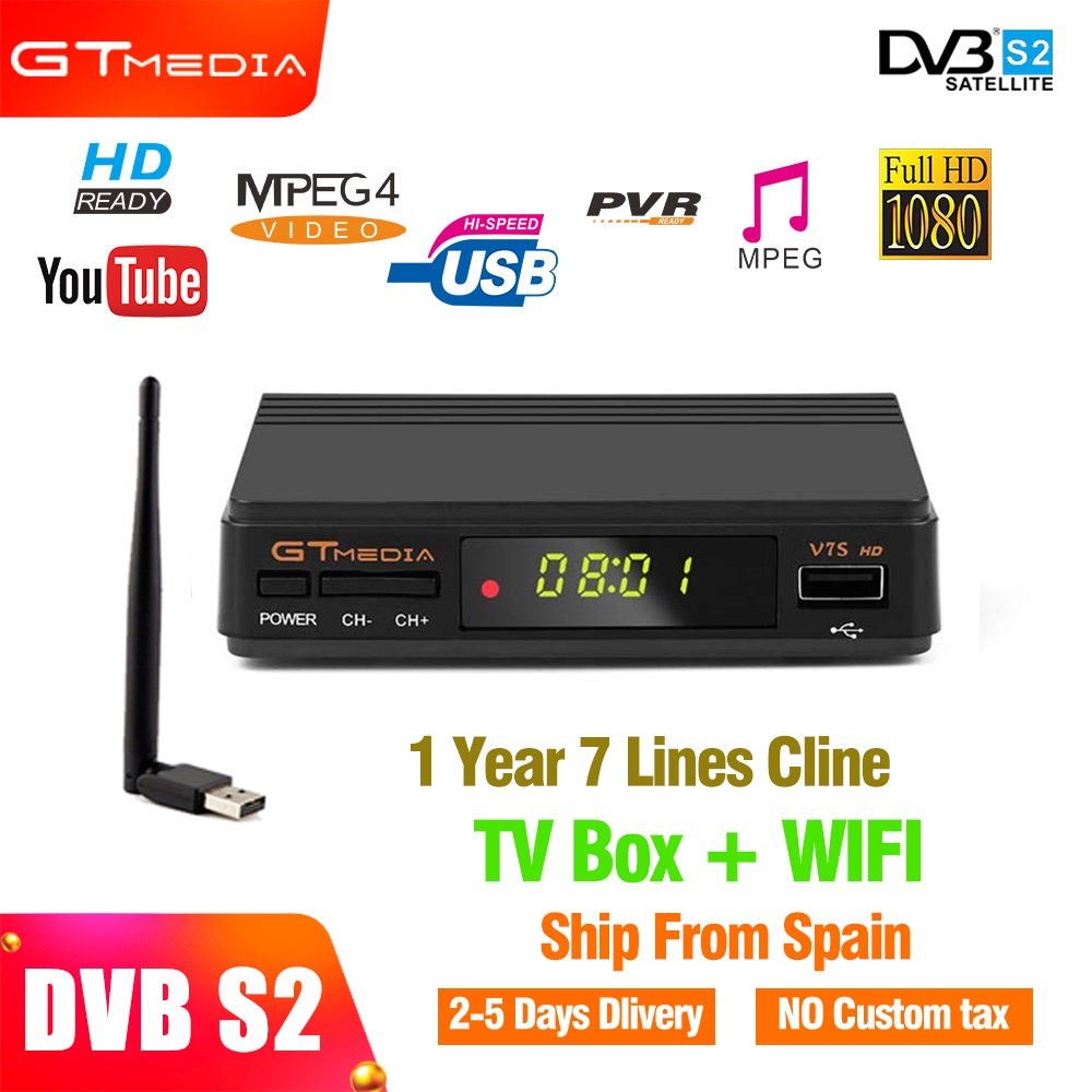 Gtmedia satellite receiver DVB S/S2 v7s FTA support youtube Biss key Newcam  with usb wifi dongle + 1 year Europe cccam account