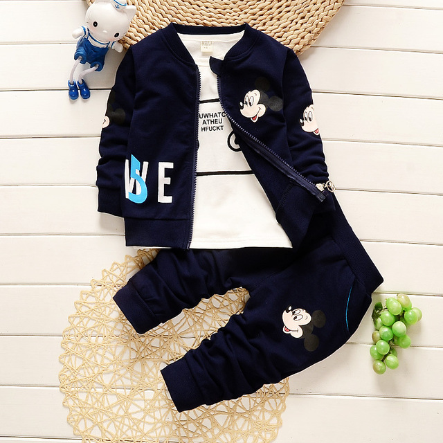 Girls Clothing Set Winter Vest Waistcoat+Coat+Pants Suit Outfit Cartoon Mickey Print Sport Suit Boy Clothing Set Kids Clothes