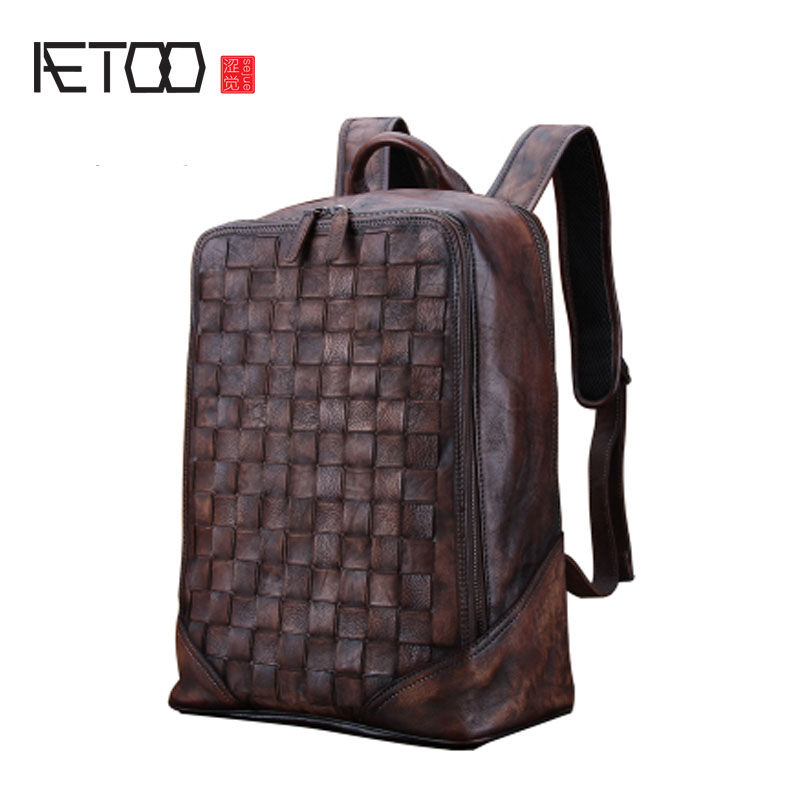 AETOO Retro Men's Backpack Large-capacity leather shoulder bag men's fashion trend leather knit bags leisure travel aetoo backpack female new retro shoulder bag hand large capacity leather bag simple wild