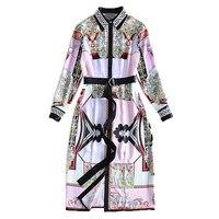 XF 2018 봄 패션 디자이너 활주로 여름 드레스 여성 긴 소매 옷깃 벨트 버튼 천사 법원 인쇄 캐주얼 드레