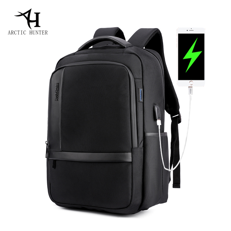 ARCTIC HUNTER Nylon Backpack USB Charging Men's Backpacks for Laptop Casual Business Travel Notebook Bag Waterproof 17inch laptop backpack notebook hand bags men s computer bag laptop bag travel nylon backpacks business bag cf1718