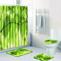 4 piece spring set shower curtain Non Slip Toilet Polyester Cover Mat Set Bathroom Shower Curtain