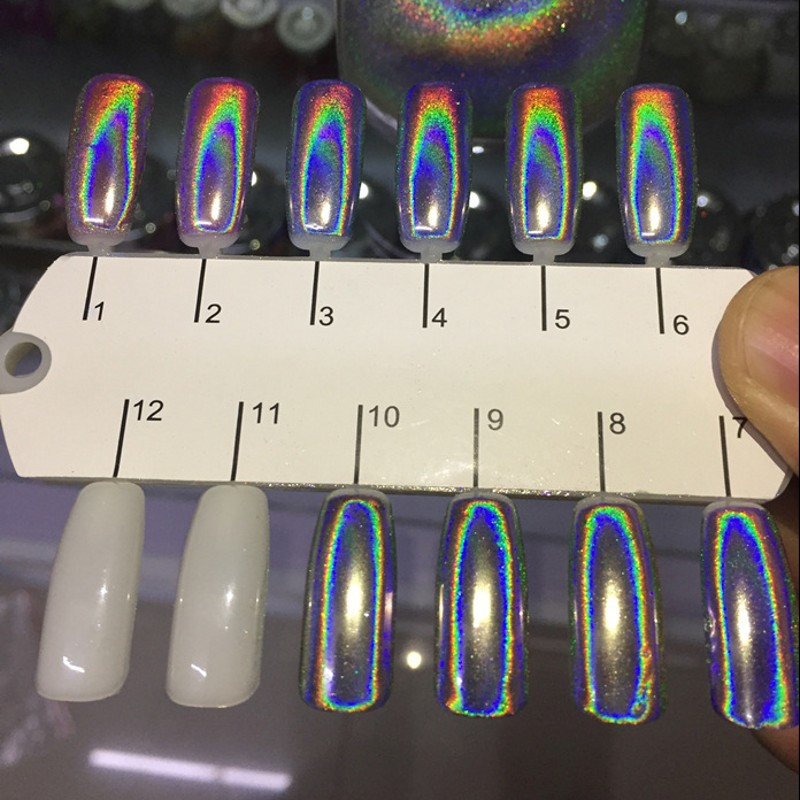 0 5g box Holographic Nail Powder Shining Mirror Holo Laser Chrome Pigment Dust DIY Manicure Decoration Free Shipping in Nail Glitter from Beauty Health