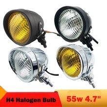 55w Motorcycle Front Headlight H4 Halogen Bulb Chopper Bobber Motorbike Headlamp High Low Beam for Yamaha V-Star Vstar 950 1100