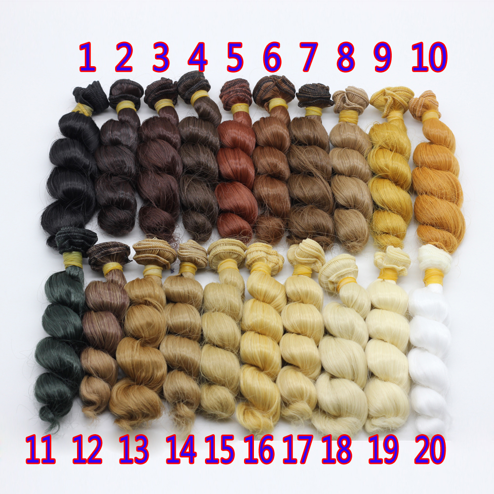 1pcs black brown natural color high temperature curly doll wig hair for 1/3 1/4 1/6 BJD diy 15*100cm