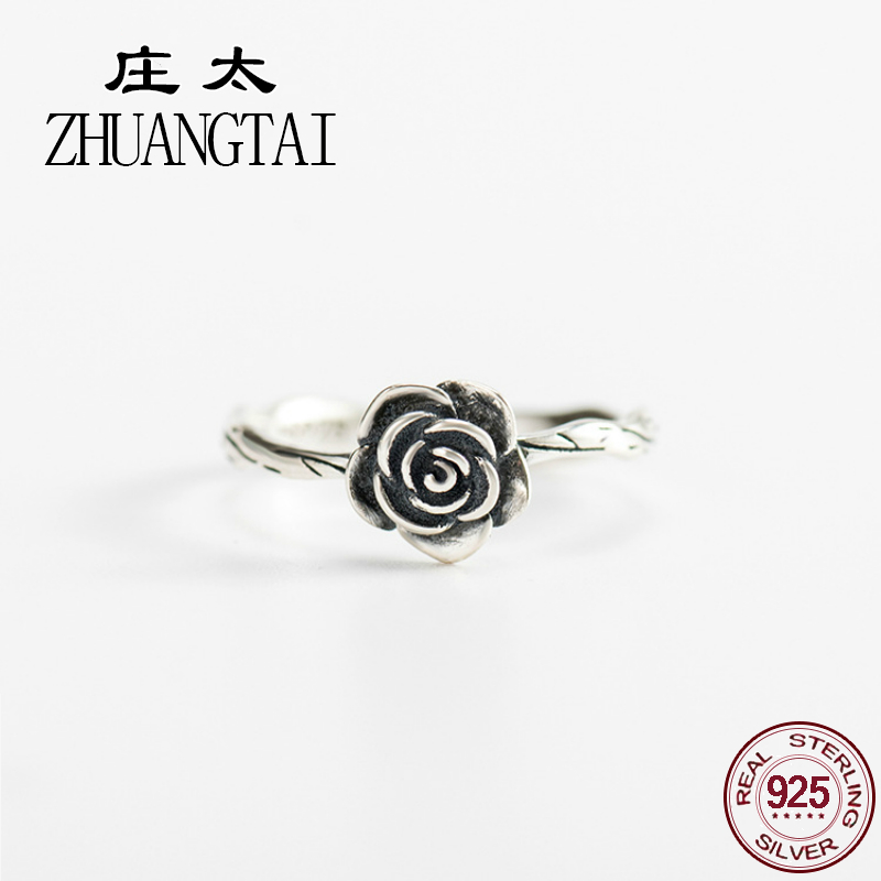 ZHUANGTAI Jewelry Real 925 Sterling Silver black vintage flower Ring Ladies Finger Wedding Rings For Women Anillos Trendy