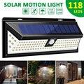 1000 лм 118 СИД Солнечная лампа 1/2 шт PIR датчик движения настенный светильник IP65 водонепроницаемый высокий яркий безопасности Luz Солнечная LED Para ...