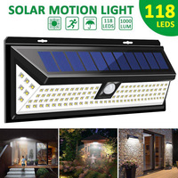 1000LM 118 LED Solar Lamp 1/2 Pcs PIR Motion Sensor Wall Light IP65 Waterproof High Bright Security Luz Solar Led Para Exterior