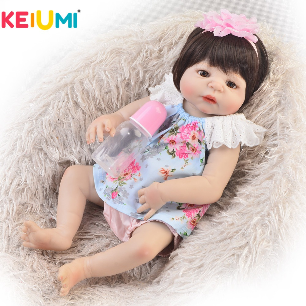 цена на Fashion 23 Inch Reborn Baby Girl Doll Full Body Silicone 55 cm Adorable New Born Baby Doll For Kid Birthday Children's Day Gifts
