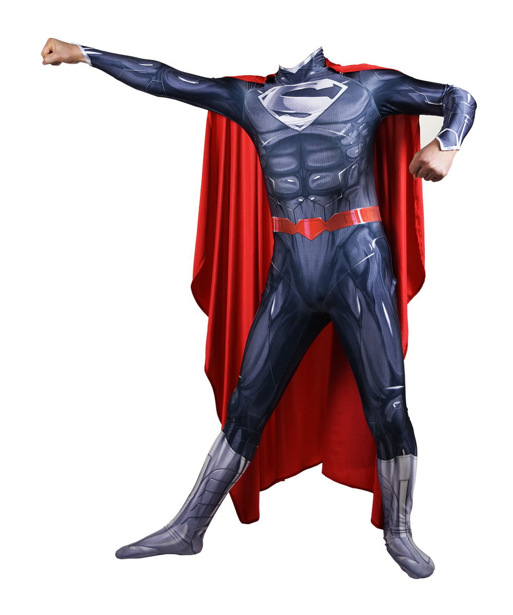 New 52 Black Superman Cosplay costume Superhero Bodysuit 3D Printting Lycra Spandex Zentai Halloween Party suit free delivery