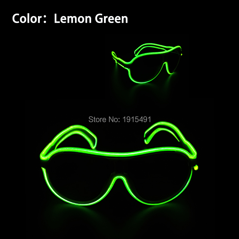 2017 Flickering Euramerican Style Lime Green Music Active EL Wire Child Sunglasses Holiday Lighting Led Strip Colorful Glasses