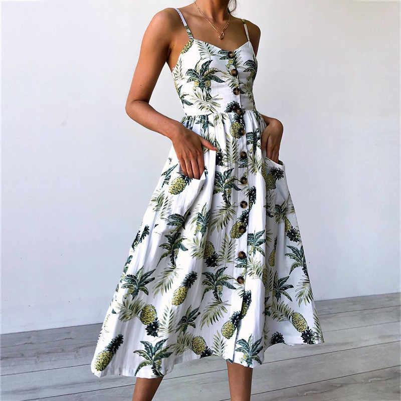 Летнее женское платье 2019 богемский с цветочным принтом, пляжное платье, сексуальное платье на бретельках с карманами, платье миди без рукавов, плиссированное платье на пуговицах с подсолнухом