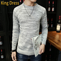 2016 Sale New Men Pullover High Quality Knitwear Spring Autumn Grey Leisure Round Neck Casual Long Sleeved Slim Man Sweater