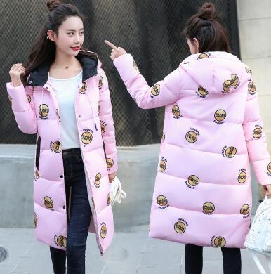 Mode frauen Parkas mädchen emoji daunenjacken winter rosa