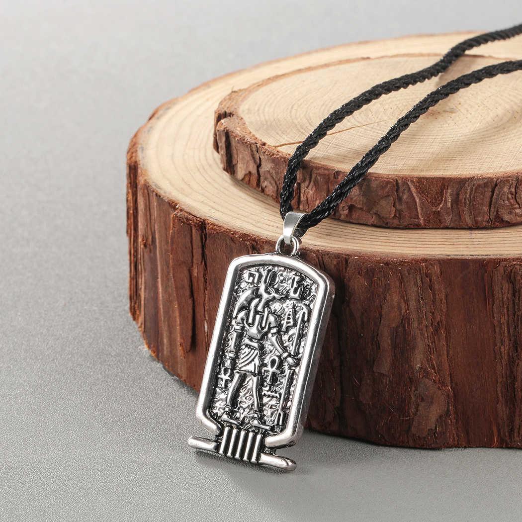 Kinitial Mens Punk Colares Egypt Amuleto Mulheres Praça Tag Anubis Collare Símbolo Religioso Ankh Pingente de Colar Vintage Jóias