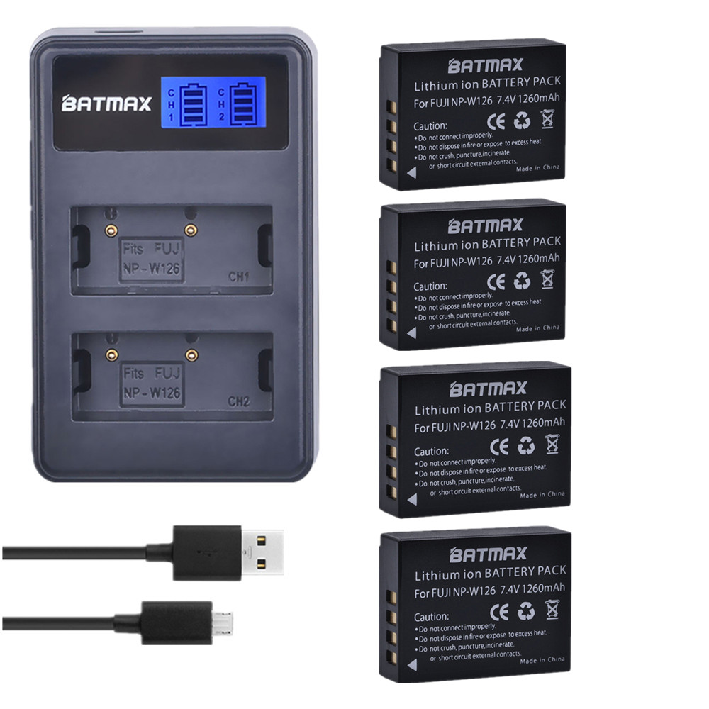 4 Pc NP-W126 NP W126 NPW126 Batteries+LCD USB Dual Charger for Fujifilm FinePix HS30EXR HS33EXR X-Pro1 X-E1 X-E2 X-M1 X-A1 X-A2 np w126 1600mah 7 2v rechargeable li ion battery camera battery pack for fuji finepix hs30exr hs33exr