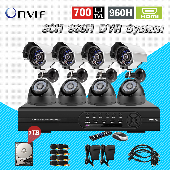 TEATE 8ch CCTV Security Camera System 8CH 960H DVR NVR 700TVL Outdoor indoor IR Camera Kit Video Surveillance System HDMI CK-145 hd 8ch cctv system 720p dvr 8pcs 720p 1200tvl ir outdoor video surveillance security camera system 8 channel dvr kit