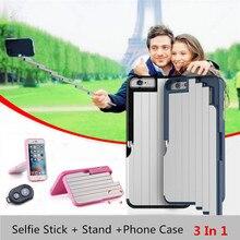 Nova Magia De Alumínio Extensível Selfie Vara + Stand Case Capa Para iPhone 6 S 7 Plus 8 Com Controle Remoto Bluetooth controle Auto-stick