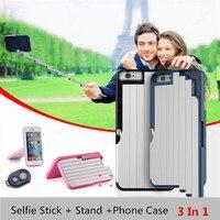 Nouveau Magique En Aluminium Selfie Bâton + Stand Housse Pour iPhone 6 6 S Plus 6 Plus 7 7 Plus Avec Bluetooth Télécommande auto-bâton
