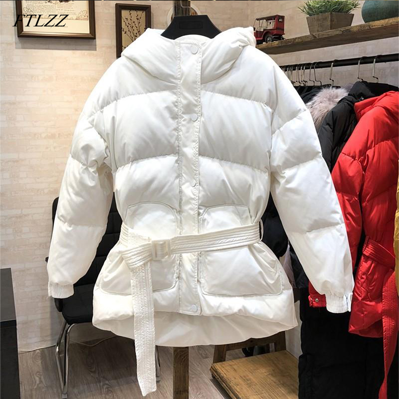FTLZZ Ultra Light   Down   Jackets Women Winter 90% White Duck   Down     Coats   Parkas Female Slim Hooded With Belt Black Red Snow Outwear