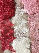 2 Yard/Lot Sequin Alencon Lace Fabric Trim in Off White , Wine Red Baby Pink Wedding Veil Bridal Accessories 22cm Wide