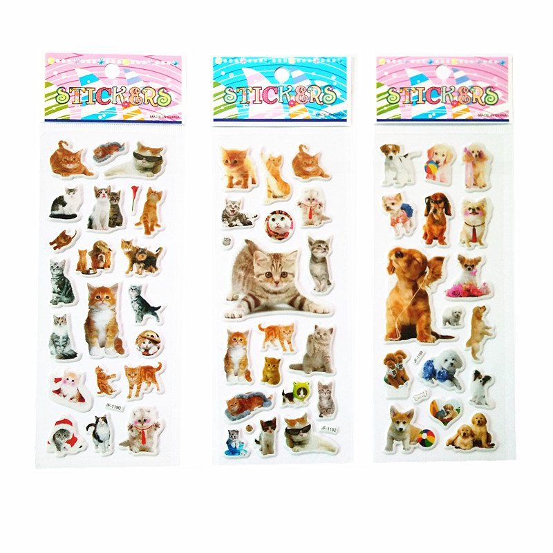 3pcs/lot 3D Puffy Bubble Stickers Foam Reward stickers Party Favors for Kids Cute DIY Craft Scrapbook Stickers cat and dog