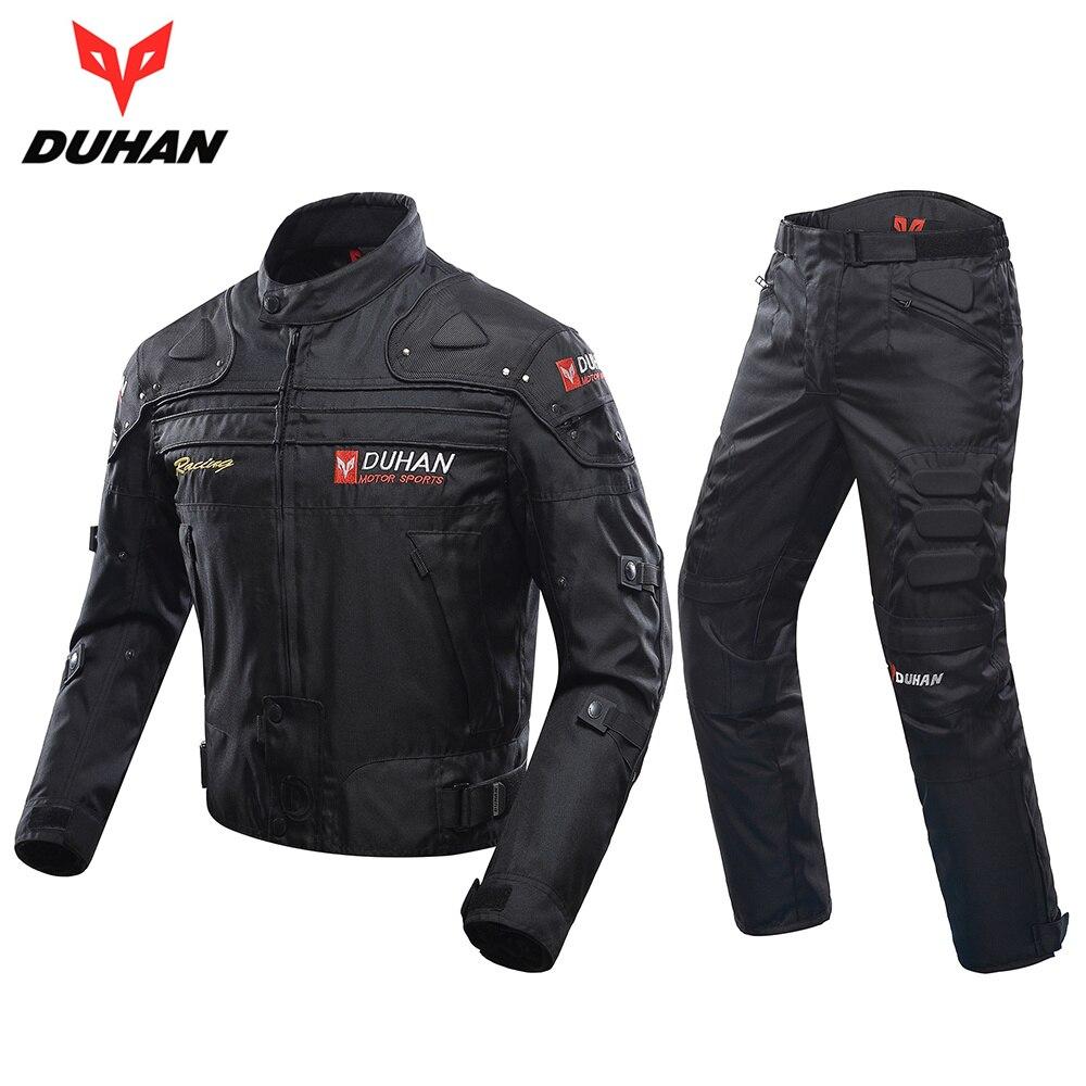 Духан мотоциклетная куртка + брюки для верховой езды Костюмы комплект ветрозащитный Спортивные куртки доспех Мотокросс Jaqueta Motoqueiro D 020