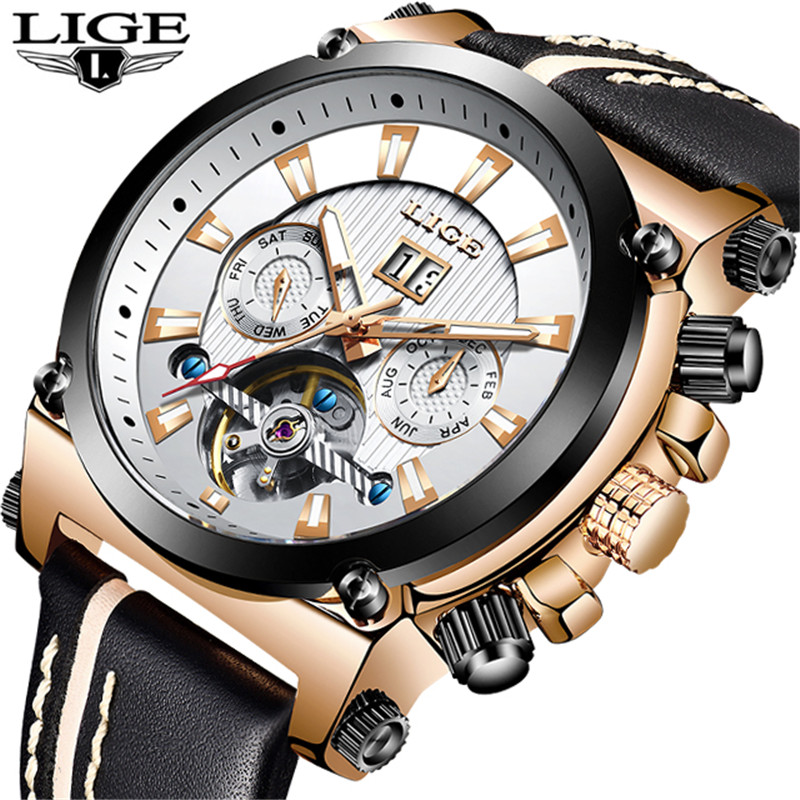 LIGE Automatic Mechanical Watch Men Top Luxury Brand Tourbillon Waterproof Sport Men Watch Casual Leather Large Dial Date Clock