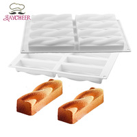8 Hole Twist Flowers Shape Silicone Mold Bread Mousse Jelly Chocolate Handmade Soap Baking Tools Novel
