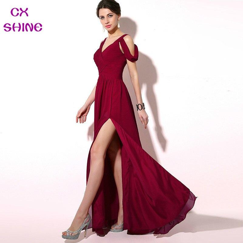 Vestidos noche largos color vino