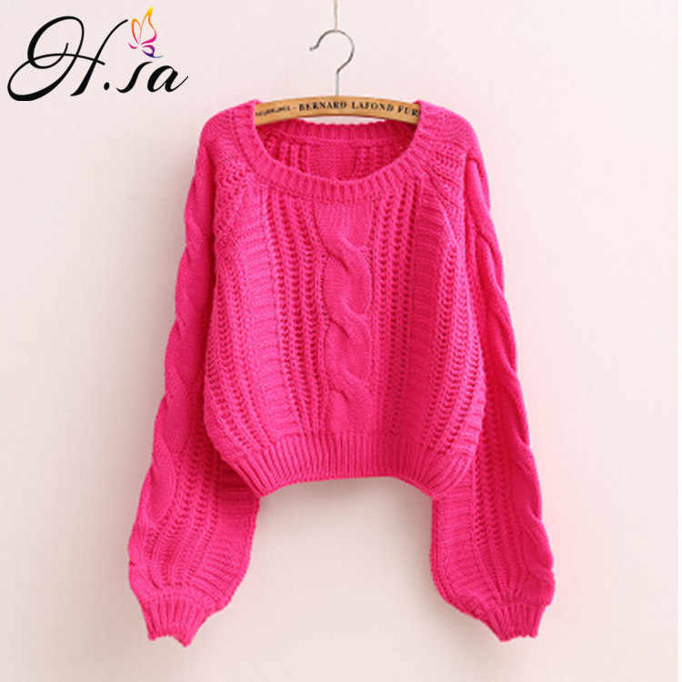 H. SA Roupas femininas Frauen Pull Pullover 2020 Neue Gelb Pullover Jumper Candy Farbe Harajuku Chic Kurze Pullover Twisted Pull