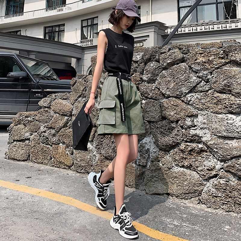 Czystej bawełny kolana długie szorty dla kobiet 2019 lato nowy Casual Plus Size kieszenie krótkie luźne damskie wysokiej talii szorty hiphopowe