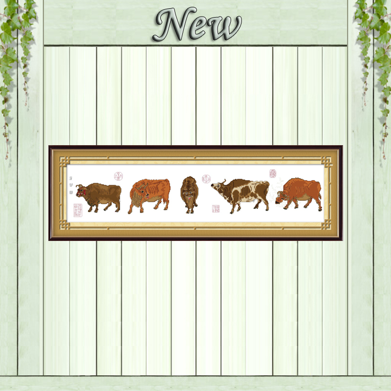 Five oxen pictures animal home decor painting counted print on canvas DMC 11CT 14CT Cross Stitch kits embroidery needlework Sets image